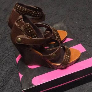 Michael Antonio leather studded wedges
